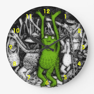 Cheering Frogs Large Clock