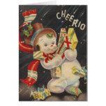 """""""Cheerio"""" Vintage Snowpeople Greeting Card"""