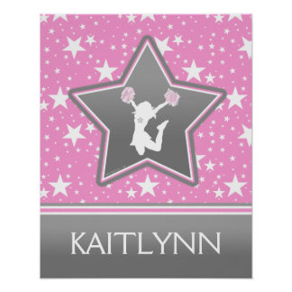 Cheerleader Among the Stars in Pink with YOUR NAME Poster