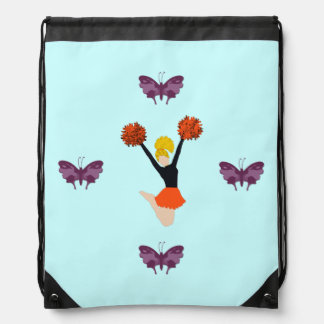Cheerleader and Butterflies Drawstring Bag
