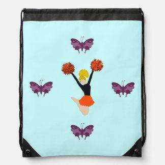 Cheerleader and Butterflies Cinch Bags