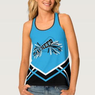 Cheerleader - Baby Blue, Black & White Tank Top