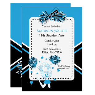 Black and white themed invitations announcements zazzle uk cheerleader birthday party in baby blue invitation stopboris Choice Image