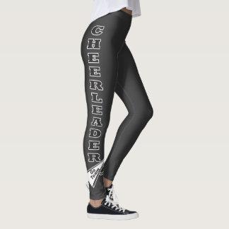 Cheerleader Black Typography Letters Leggings