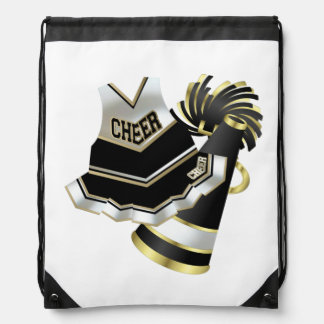 Cheerleader Black White and Gold Backpacks