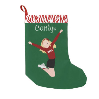 Cheerleader Blonde in Red & Black Small Christmas Stocking