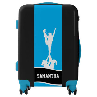 Cheerleader Blue and Black personalized luggage
