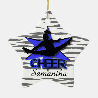 Cheerleader Blue tiger Christmas ornament