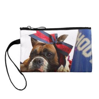 Cheerleader boxer dog coin purses