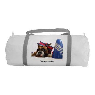 Cheerleader boxer dog gym duffel bag