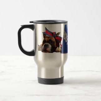 Cheerleader boxer dog stainless steel travel mug