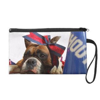 Cheerleader boxer dog wristlet purses