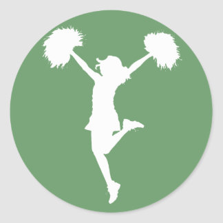 Cheerleader Cheering with Customizable Background Classic Round Sticker