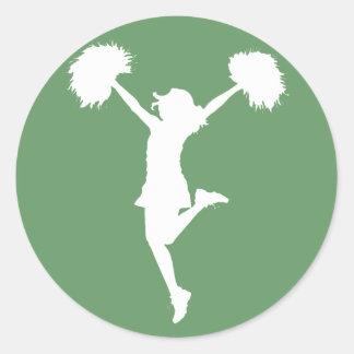 Cheerleader Cheering with Customizable Background Classic Round Sticker