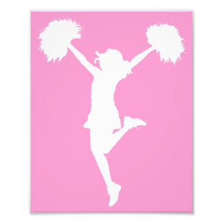 Cheerleader Cheering with Customizable Background Photograph