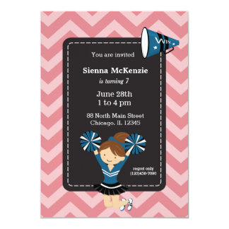 Cheerleader, choose your own background color 13 cm x 18 cm invitation card
