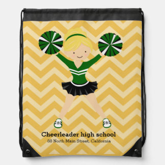 Cheerleader, choose your own background color drawstring bag
