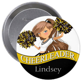 Cheerleader choose your school colors black gold 10 cm round badge