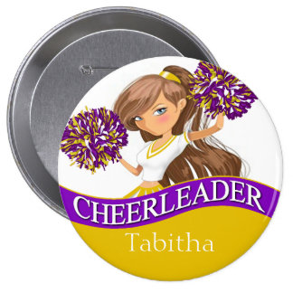 Cheerleader choose your school colors purple gold buttons
