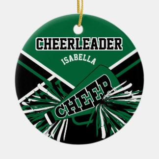 Cheerleader -Dark Green, Black and White Christmas Ornament