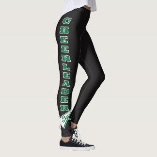 Cheerleader Dark Green Typography Letters Leggings