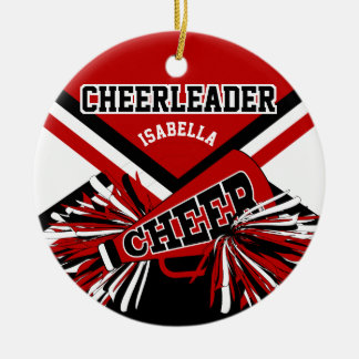 Cheerleader - Dark Red, Black and White Christmas Ornament