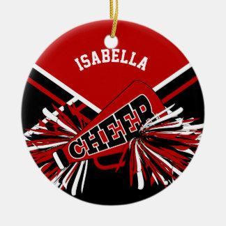 Cheerleader - Dark Red, Black and White Round Ceramic Decoration