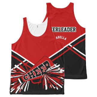 Cheerleader - Dark Red, White & Black All-Over Print Tank Top
