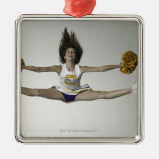 Cheerleader doing splits in mid air Silver-Colored square decoration