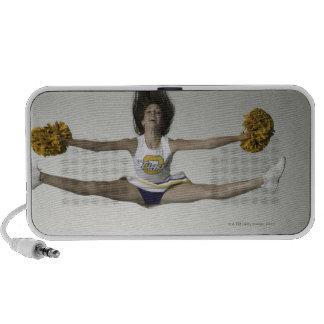 Cheerleader doing splits in mid air portable speakers