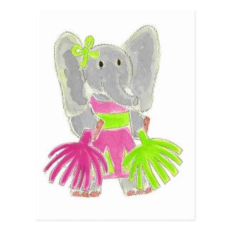 Cheerleader Elephant Postcard