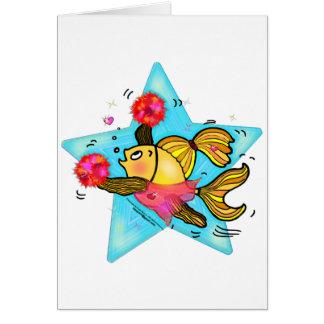 Cheerleader Fish cute funny sparky comics Cheer Greeting Card