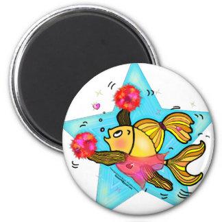 Cheerleader Fish cute funny sparky comics Cheer Fridge Magnets