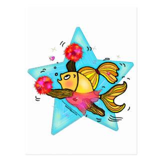 Cheerleader Fish cute funny sparky comics Cheer Postcard