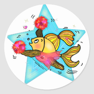 Cheerleader Fish cute funny sparky comics Cheer Round Sticker