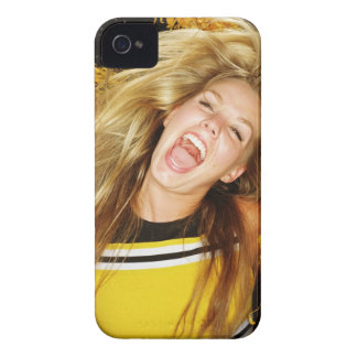 Cheerleader flipping hair, laughing, surrounded iPhone 4 Case-Mate cases