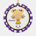 Cheerleader Girl Christmas Ornament Purple Gold