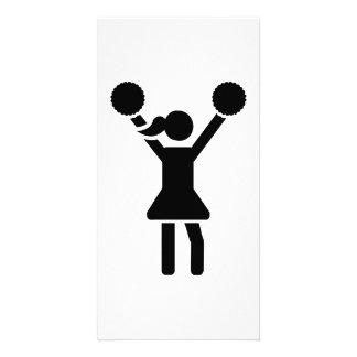 Cheerleader girl custom photo card