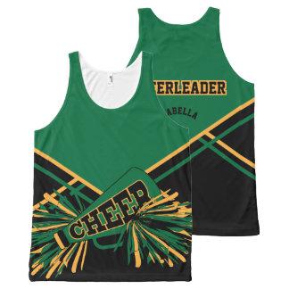 Cheerleader - Gold, Dark Green & Black All-Over Print Tank Top