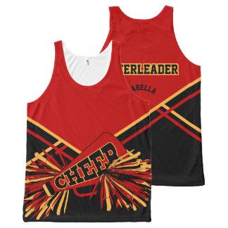 Cheerleader - Gold, Dark Red & Black All-Over Print Tank Top