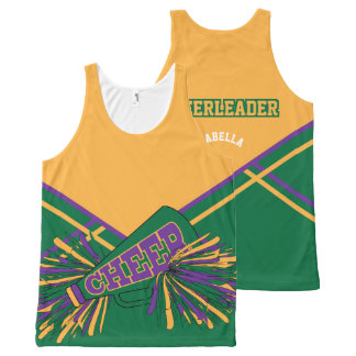 Cheerleader -Gold, Green & Purple All-Over Print Tank Top