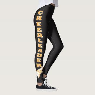 Cheerleader Gold Typography Letters Leggings