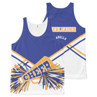 Cheerleader - Gold, White & Black All-Over Print Tank Top