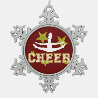 Cheerleader gymnast pewter snowflake decoration