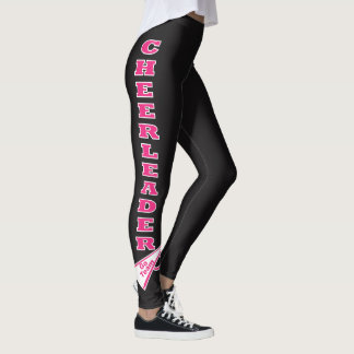 Cheerleader Hot Pink Typography Letters Leggings