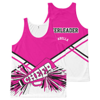 Cheerleader - Hot Pink, White & Black All-Over Print Tank Top
