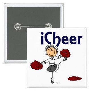 Cheerleader I Cheer Stick Figure 15 Cm Square Badge
