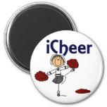 Cheerleader I Cheer Stick Figure 6 Cm Round Magnet