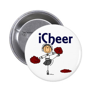 Cheerleader I Cheer Stick Figure Buttons