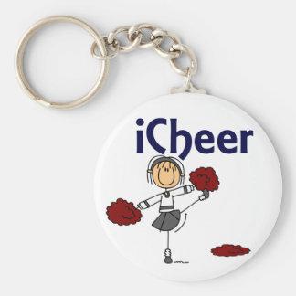Cheerleader I Cheer Stick Figure Basic Round Button Key Ring